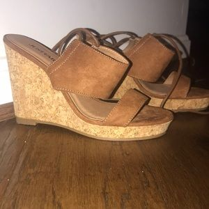 NEVER WORN JustFab lace up low wedge